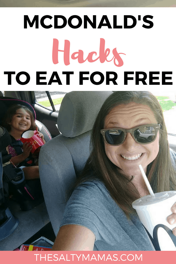 kid eating a happy meal in back seat: text: mcdonald's hacks to eat for free