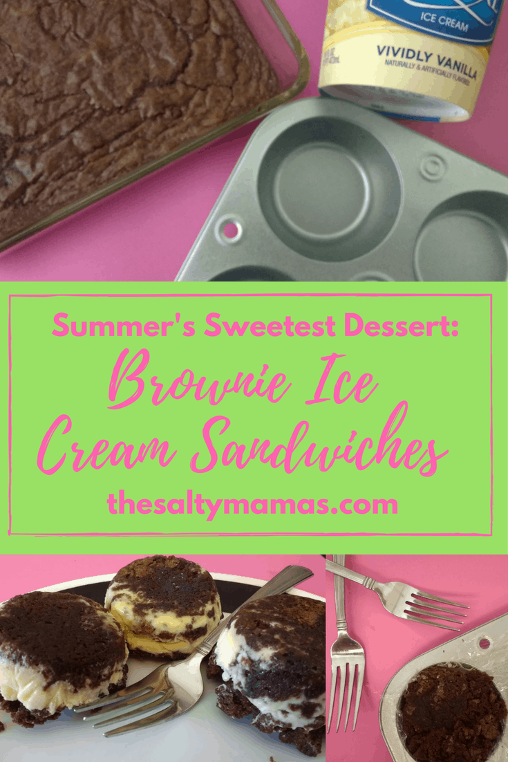 Dessert recipe for simple brownie ice cream sandwiches, a sweet and cool summertime favorite. Crowd pleasing and perfect for sharing!