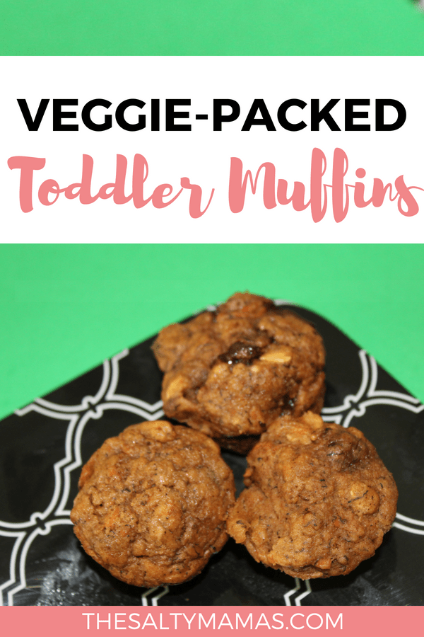3 small muffins on a plate. Text overlay: Veggie-packed toddler muffins.