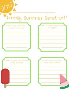 Record your family's summer memories with this sweet, free printable!