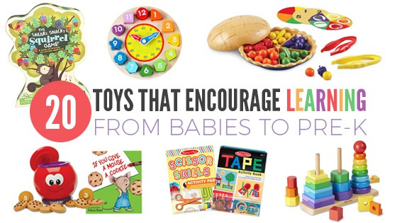 A display of different toddler toys. Text overlay: 20 toys that encourage learning from babies to pre-k