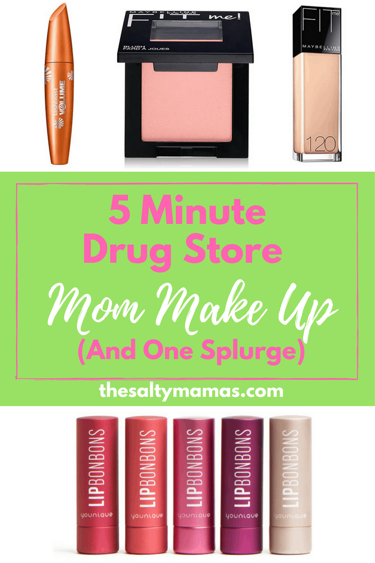 The best five minute makeup routine, featuring drug store versions that work like a dream- and one Younique splurge. From thesaltymamas.com