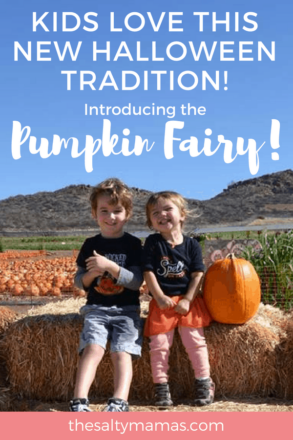 two kids saving money at the pumpkin patch with the Pumpkin Fairy