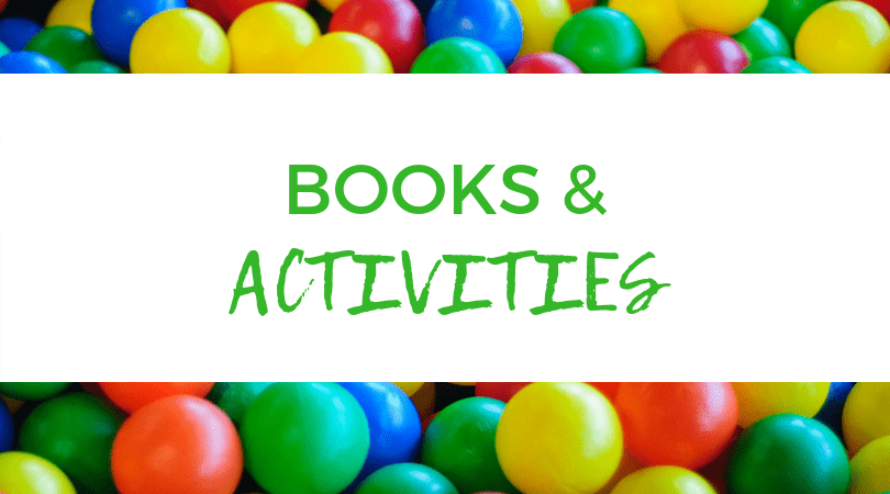 Backdrop of M&M's. Text overlay: Books & Activities