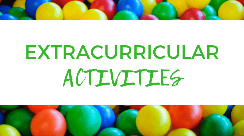 Assorted M&M's. Text overlay: Extracurricular Activities