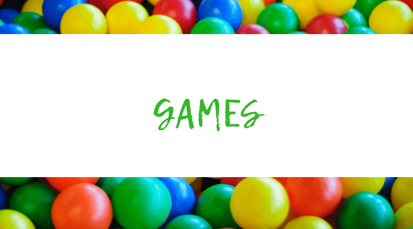 Assorted M&m's backdrop. Text overlay: Games
