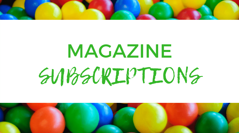 A backdrop of m&m candies. Text overlay: Magazine Subscriptions.