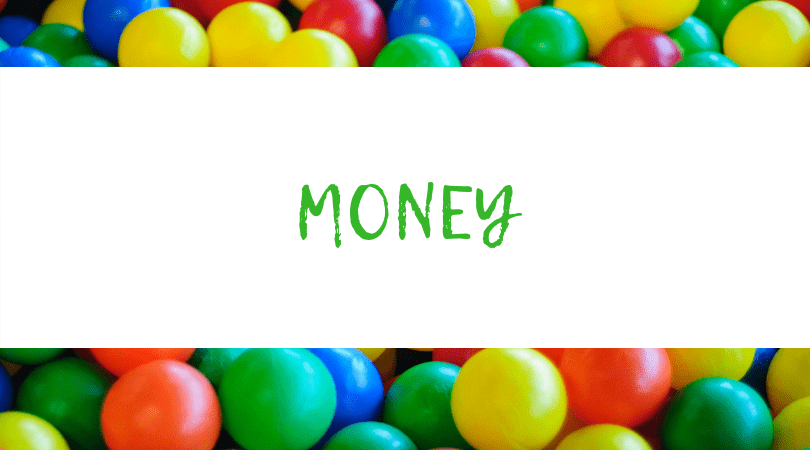 Backdrop of Assorted M&M's. Text overlay: Money