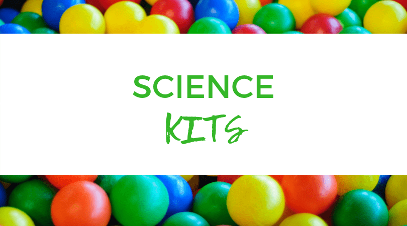 M&M's backdrop. Text overlay: Science kits