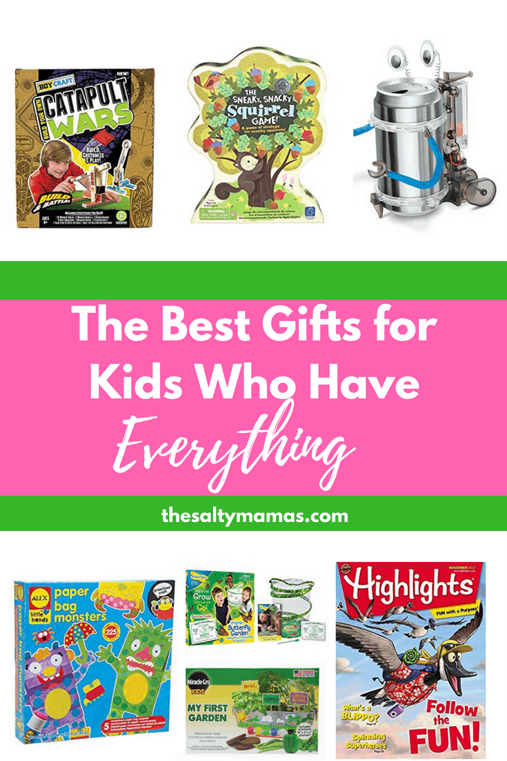 What do you get for the kid who already has EVERYTHING? Check out this list of unique gift ideas from thesaltymamas.com #giftguide #christmasgifts #kidsgifts