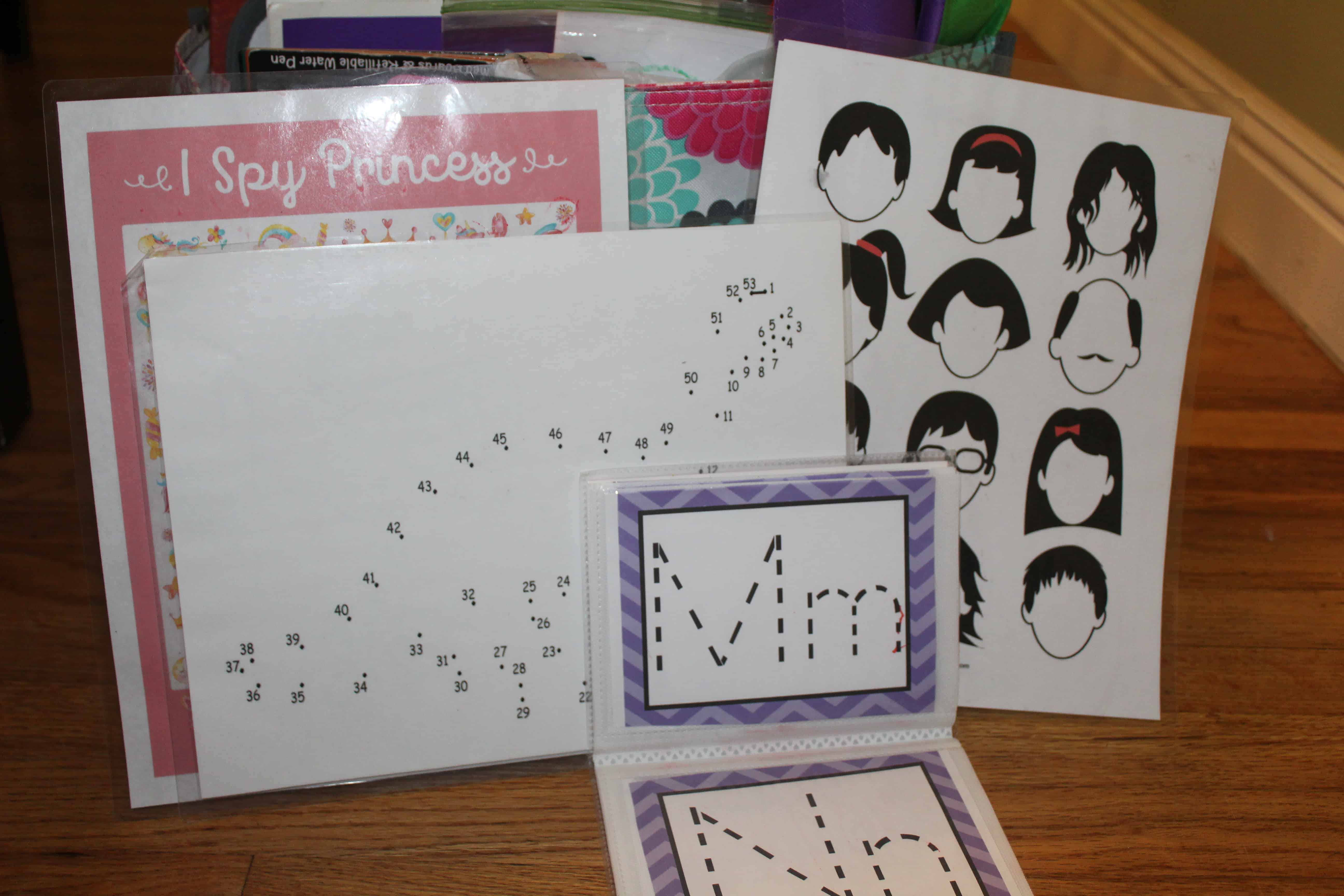 Papers with drawings and activities on them.