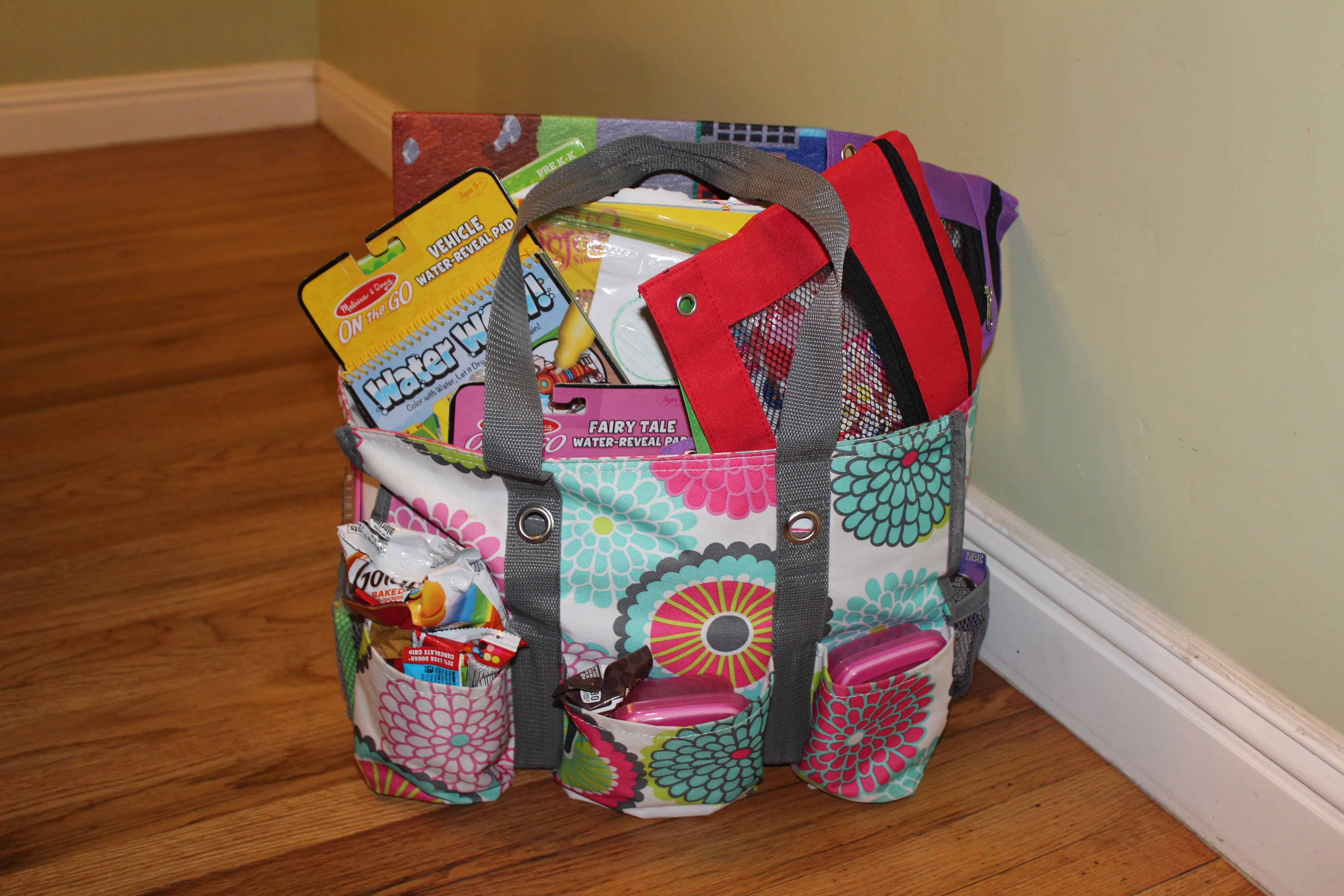 Travel bag chock full of items.