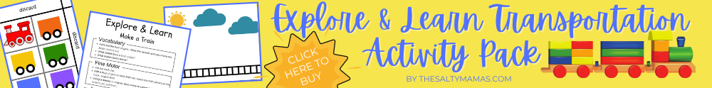 printable activity sheets; text: explore and learn transportation activity pack