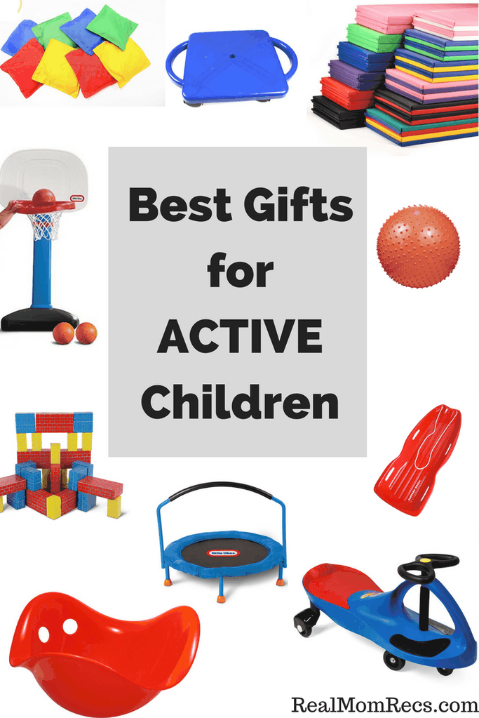 A display of outside fitness toys. Text overlay: Best gifts for active children