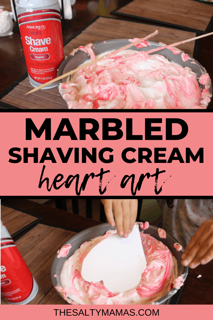 shaving cream in a bowl; text overlay: marbled shaving cream heart art