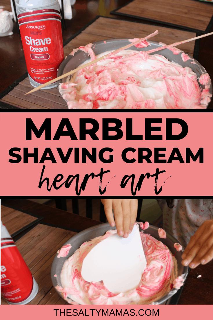 shaving cream in a bowl; text overlay: marbled shaving cream heart art