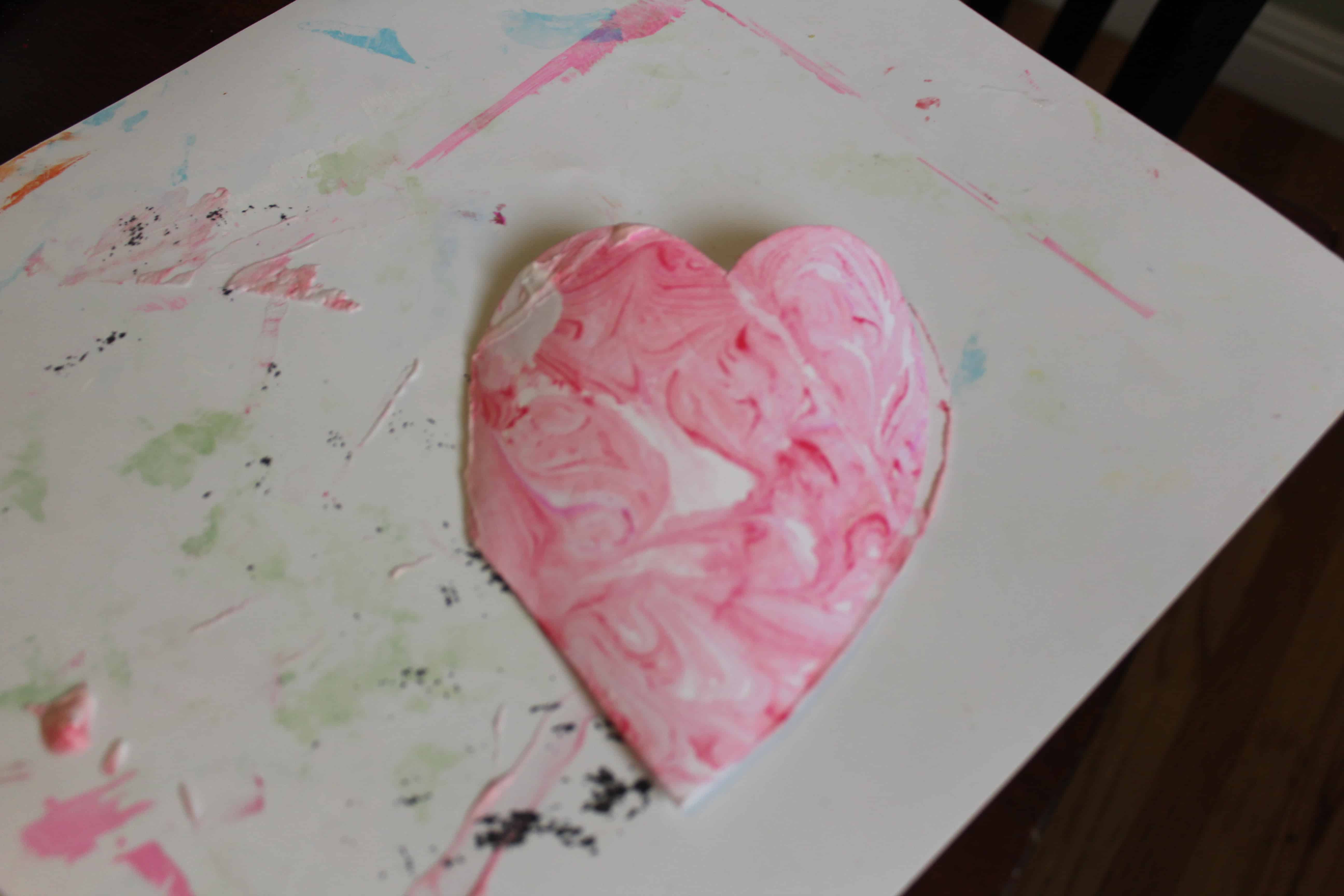 marble print shaving cream heart