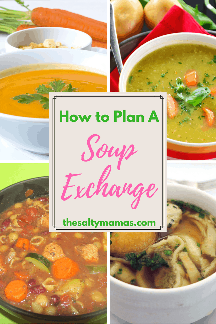 How to Plan a Soup Exchange to Try New Recipes and Have Dinners for the Week, from thesaltymamas.com. #souprecipe #soupexchange