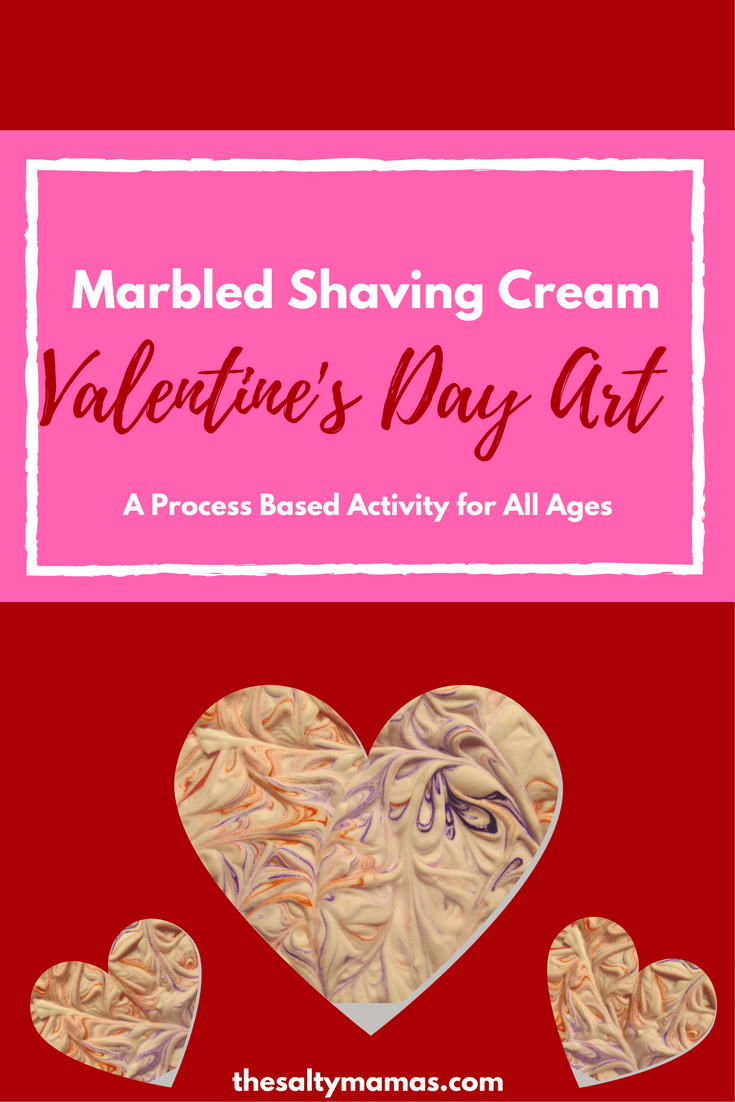 Marbled Shaving Cream Valentines Day Process Art