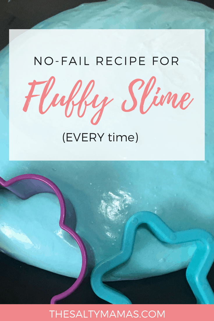 Baby blue putty; Text overlay: No-fail recipe for fluffy slime
