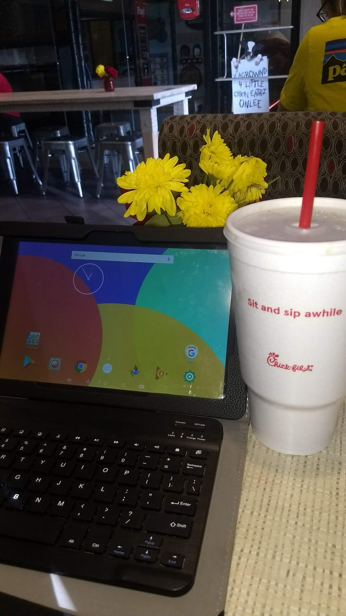 mom working from chick fil a