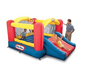 Inflatable bouncer with children inside playing.