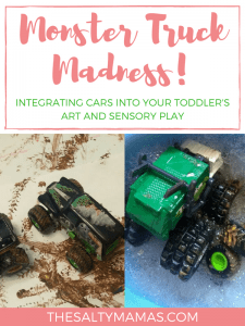 Looking for a way to get your toddler boy interested in art? Try this Monster Truck Art Activity from thesaltymamas.com! #toddlerart #boymom #artforboymoms #artactivitiesforkids #processbasedart #toddlerboyart #artprojectsforboys #artforboys #easyartactivities #messyart #sensoryexperience #noprepart #toddlersensory #toddlercarwash #boyscraft #boysart #artfortoddlers #firstartproject #firstpainting #littlekidart