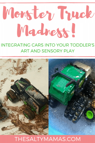 Looking for a way to get your toddler boy interested in art? Try this Monster Truck Art Activity from thesaltymamas.com! #toddlerart #artactivitiesforkids #processbasedart #easyartproject #noprepartproject #artfortoddlerboys #artfortoddlergirls #paintingactivitiesfortoddlers #paintingideasforboys #kidspaintingideas #monstertruckplay #besttoddlertoys #besttoddlerart #firstartproject #littlekidart #toddlersensoryactivities