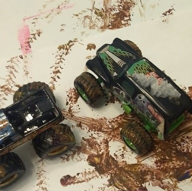monster trucks in color mixed paint