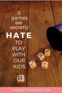Let's face it. Some kids games suck. Here are six we want to stop playing forever. #kidsgames #funwithkids #screenfree #playwithkids #familytime #familygames #gameswehate #worstgameswithkids #worstfamilygames #momlife #mommyhumor #dadlife #dadhumor #parenting #parentinghumor