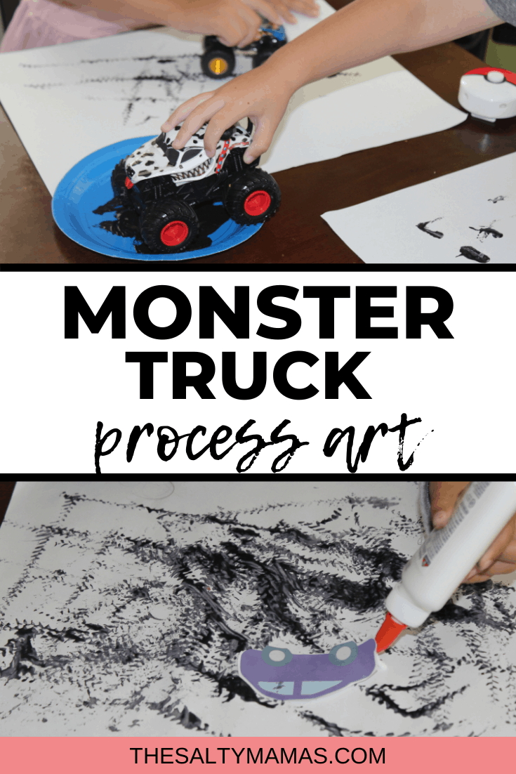 toddler boy painting with monster trucks/toy cars; Text overlay: Monster truck process art