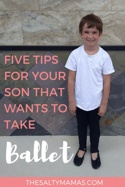 Have a son that's interested in ballet? Here are five tips to get you to his first lesson! #boymom #canboysdoballet #balletforboys #balletboys #balletmen #balletshoesforboys #boysballetshoes #balletforkids #whatdoboyswearinballet #boysdoingballet #boysballetclothes #canboysdoballet #canboystakeballet #boysindance #boysindanceclass #danceclassforboys