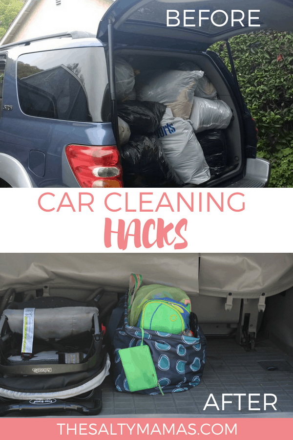 A car full of trash and grocery bags in one image and a clean trunk in the other. Text overlay: Car cleaning hacks.