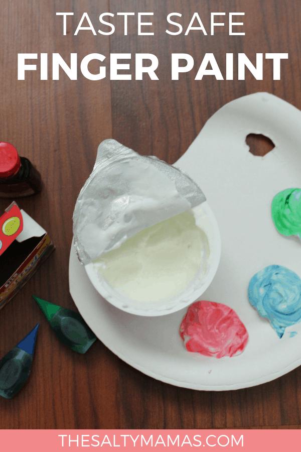 yogurt paint; text overlay reads: taste safe fingerpaint