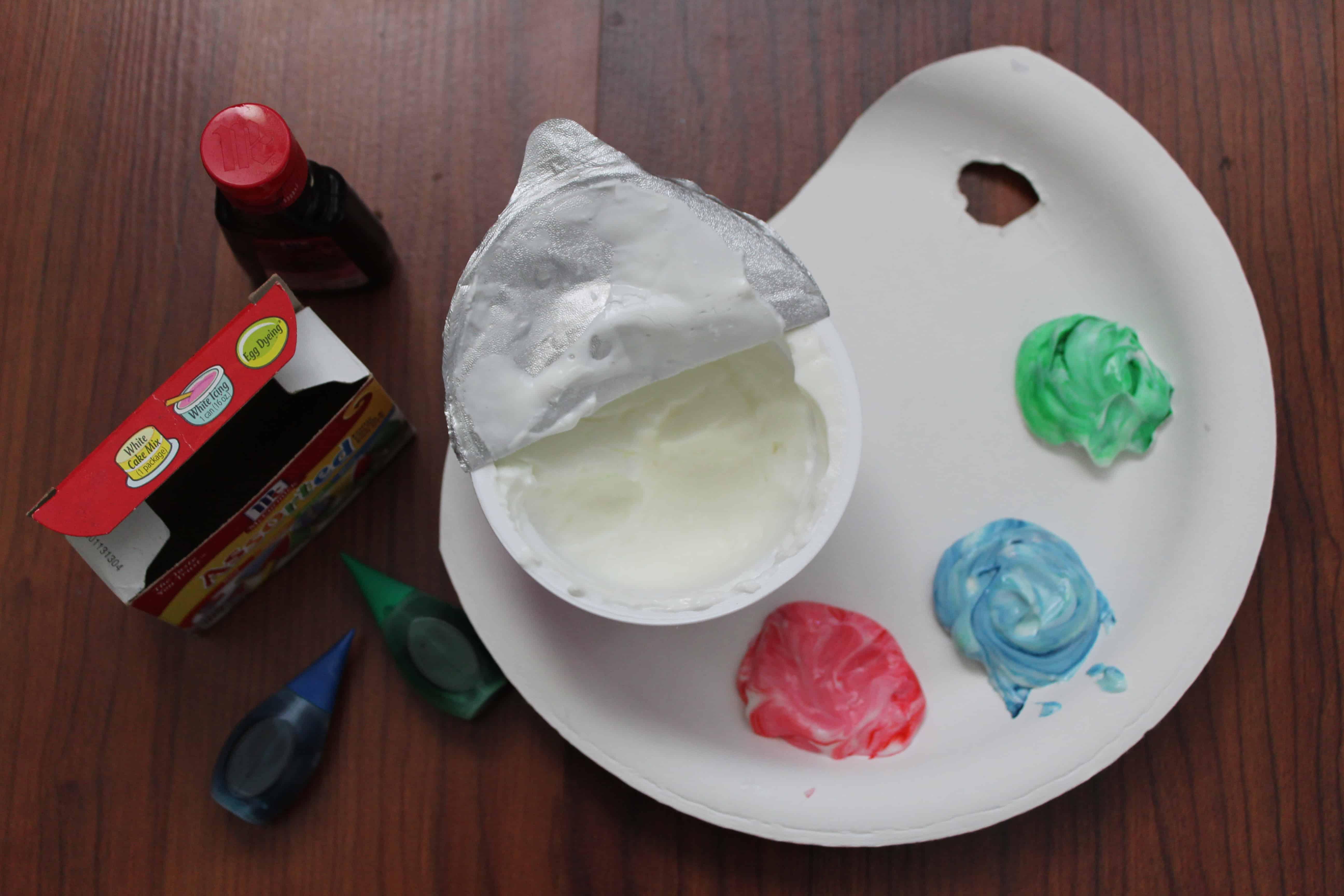 edible yogurt paint using food coloring