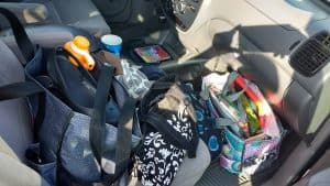 If you have kids, this image may be all too familiar. How to keep your car clean-even with kids!-from TheSaltyMamas.com.