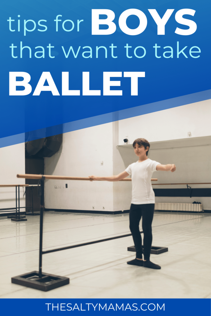 boy doing ballet; text: tips for your boy that wants to do ballet