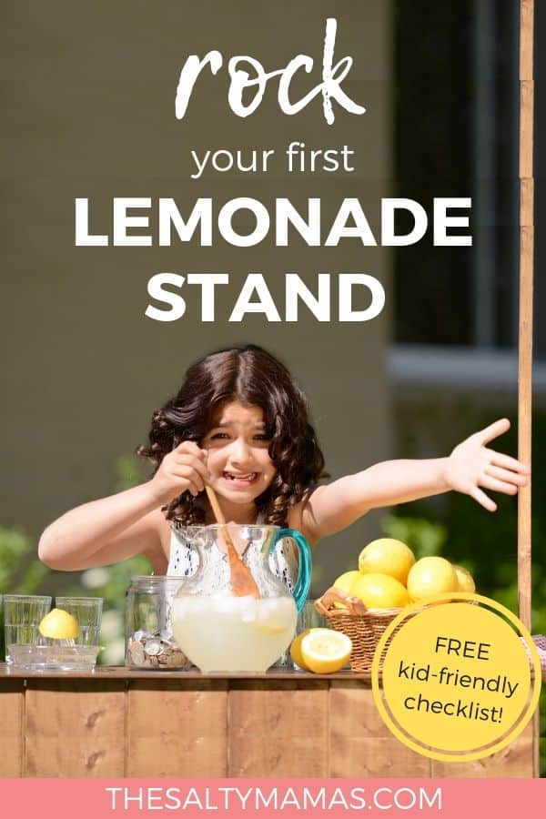 Smiling child stirring Lemonade; Text overlay: rock your first lemonade stand