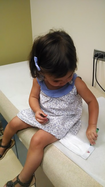 one year old at the doctor