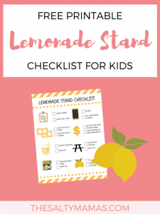 A checklist and a picture of lemons; Text overlay: Free printable Lemonade stand checklist for kids