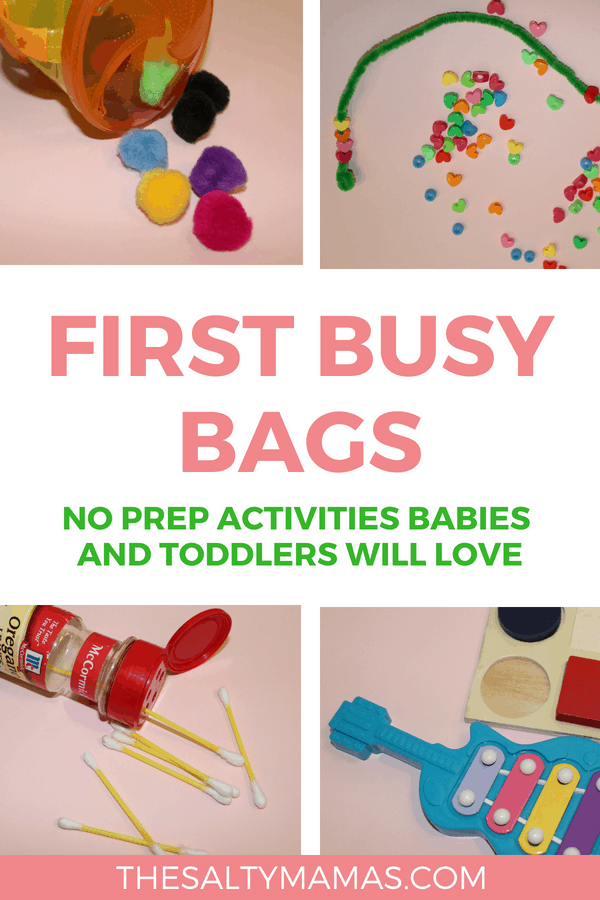Cotton balls in a cup, pipe cleaner and beads, Q-tips in a spice container, and a miniature xylophone; Text overlay; First busy bags no prep activities babies and toddlers will love.