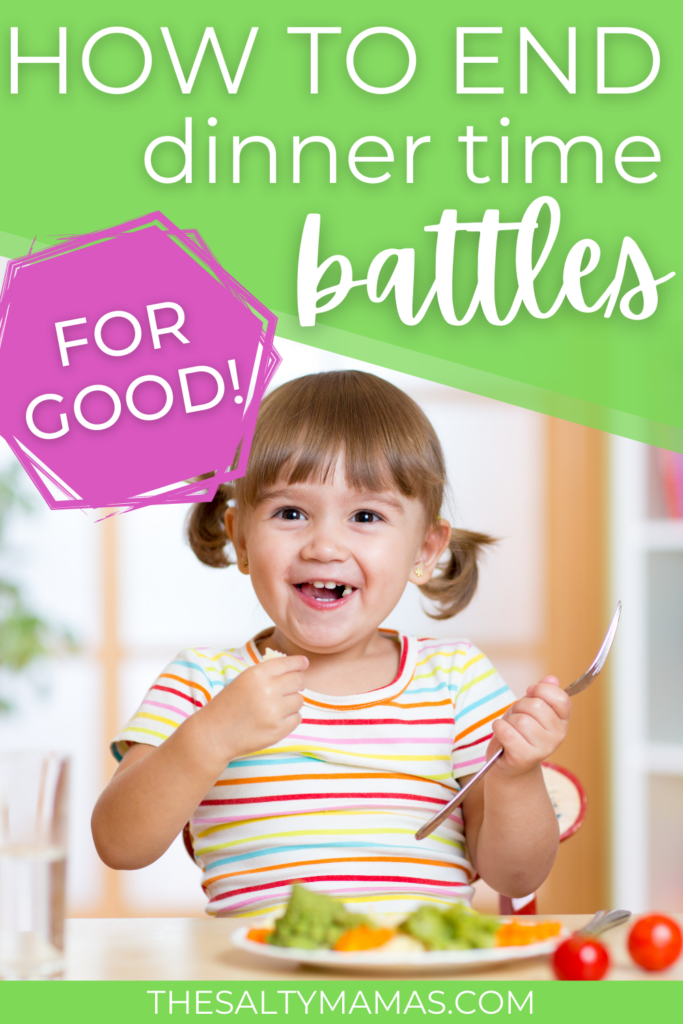 child eating; text: how to stop dinner time battles for good