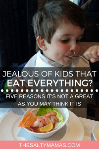Before you get too jealous of your friends whose kids eat everything, read this! #pickyeaters #kidsthateateverything #foodiekid #kidfoodies #minifoodie #littlefoodie #kidsmeals #kidseatveggies #kidseatfruit #getmoreveggiesforkids #momlife #dadlife #foodbtattles #eatingoutwithkids