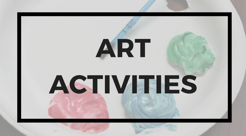 Paper plate with paints; Text overlay: Art Activities