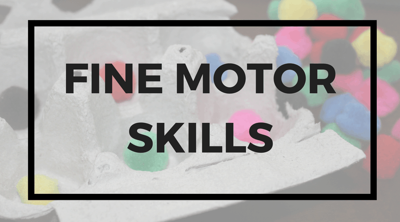 Egg carton with cotton balls; text overlay: Fine motor skills