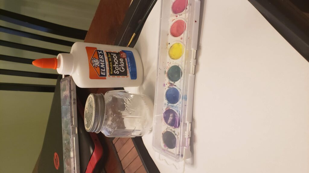 salt, glue, and paint with paper