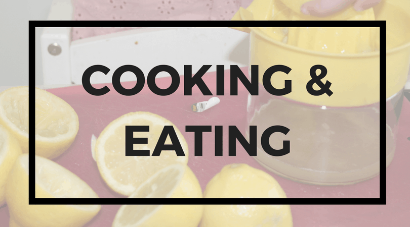 Lemons cut in half and a lemon juicer; Text overlay: Cooking & Eating