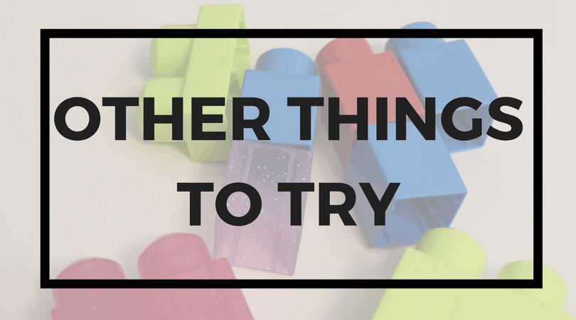 Various duplo blocks; Text overlay: Other things to try