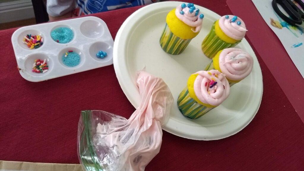 kid-decorated cupcakes