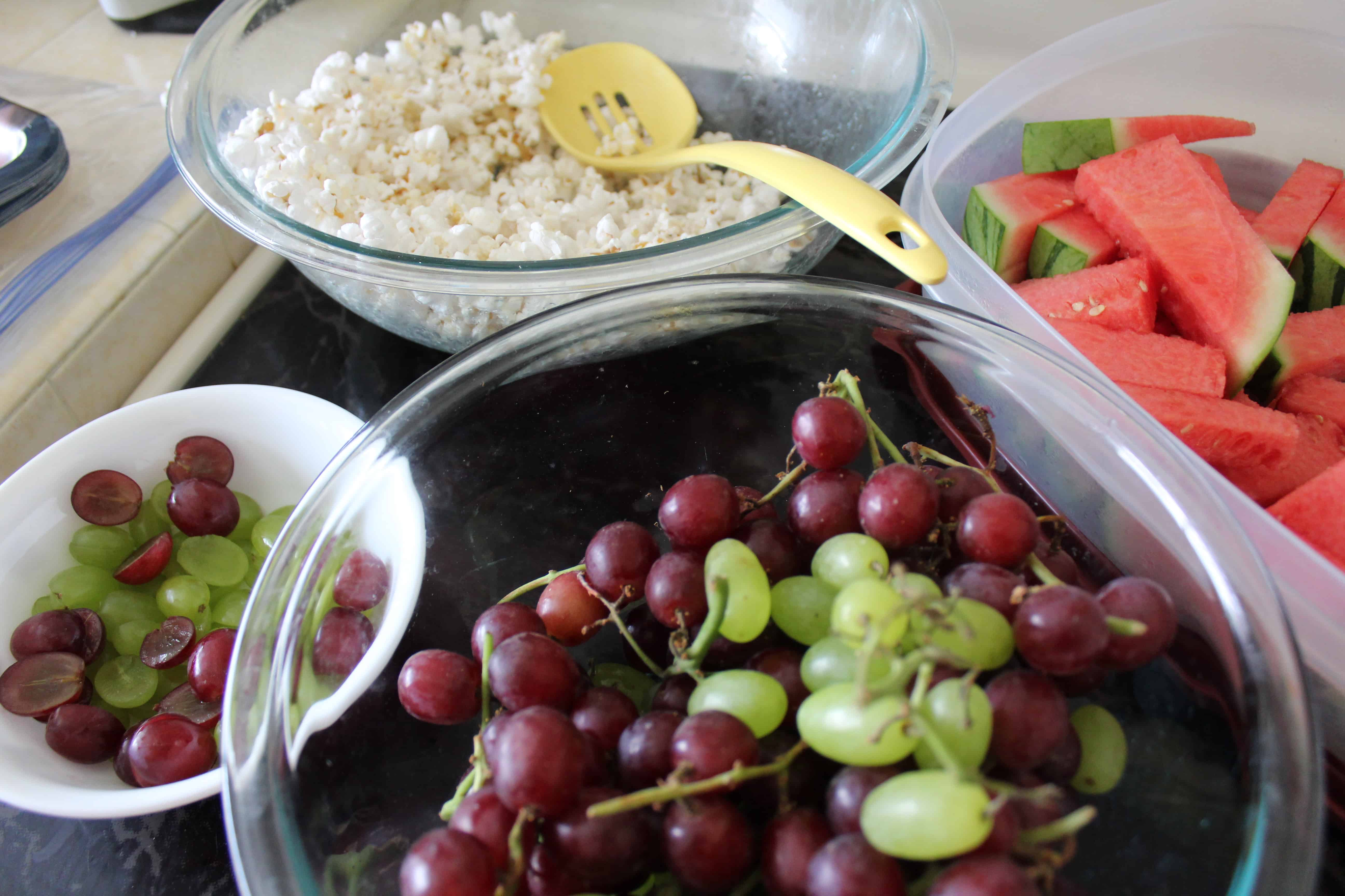 grapes, popcorn, and watermelon